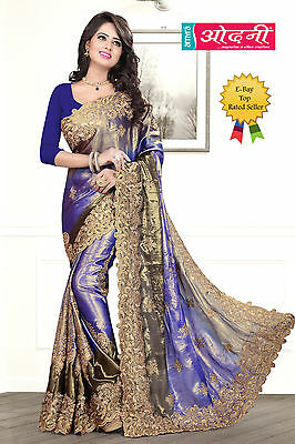 Indian Bollywood Style Embroidered Sari Navy Blue Satin Chiffon Party Wear Saree