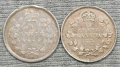 Lot Of 2 Canada 5 Cents Silver Coins - 1872 H & 1912