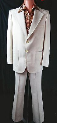 VTG 70s HALLOWEEN~SATURD@Y NIGHT FEVER~FUNKY LEISURE SUIT & DISCO SHIRT,40Ch/34W