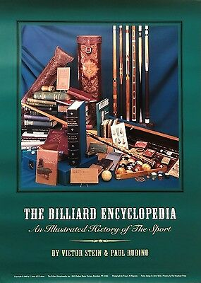 The Billiard Encyclopedia Poster History of Pool Cues Cases Books Balls Chalk