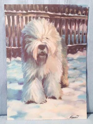 4 OES Old English Sheepdog PICTURES Prints Article & Ad * Bobtail Canine Dog Art