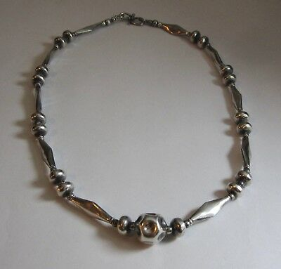 "Vintage Sterling Silver Geometric Tribal Bench Bead Necklace 17 ½"" 35G"