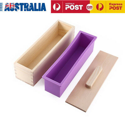 1200g DIY Wood Loaf Soap Mould With Silicone Mold Wooden Cover