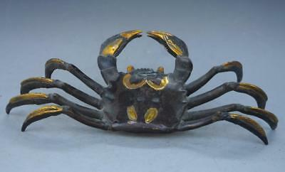 China Old Handwork Carving Red Copper gild Crab Statue Decorations
