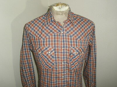 Vintage LEVI'S Tapered Fit Plaid Check WESTERN SNAP Shirt mens Large