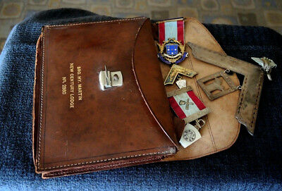 Masonic Past Master Jewels Enamel & Silver H/m 1931/3 Leather Bag & Book London