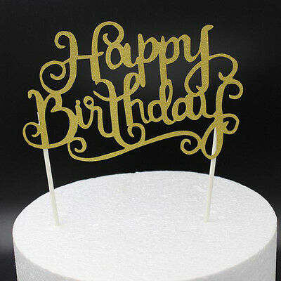 Glitter Gold Cake Topper Happy Birthday Party Baking Decoration Supplies NEW