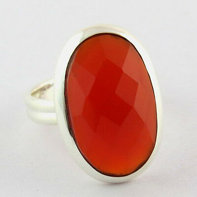 Oval Shape Faceted Carnelian Gemstone Bezel Set Statement Ring With 925 Silver