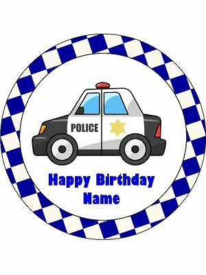 POLICE CARS Edible Wafer Paper Birthday Cake Decoration & 12 Cupcake Toppers