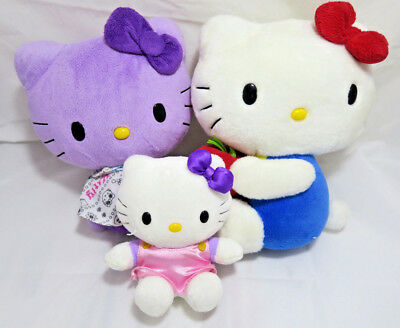 Hello Kitty Plush Lot of 3 Purple, Red Apple & Pink Dress Collectable RARE