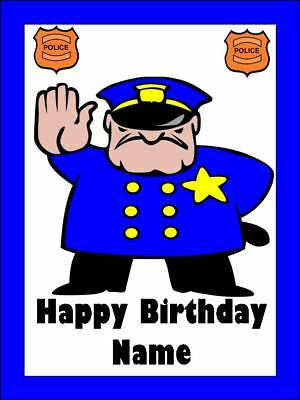 POLICEMAN A4 Edible Icing Birthday Cake Party Decoration Topper
