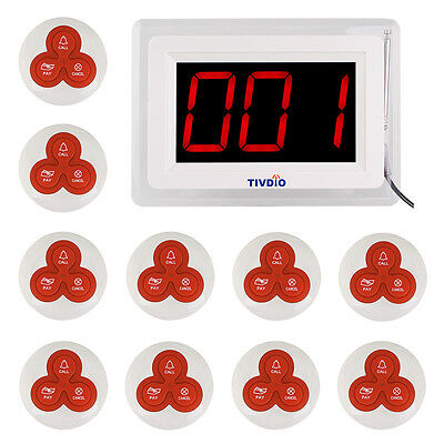 Restaurant Dining Paging System Receiver Display Host+10* Call Button Pager Set