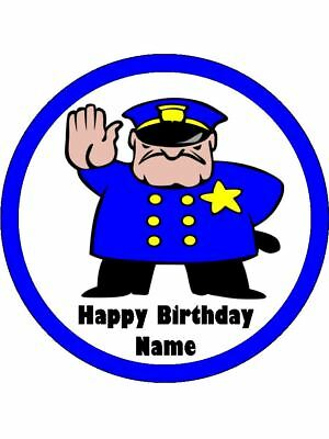 POLICEMAN Edible Wafer Paper Birthday Cake Decoration 12 Cupcake Toppers