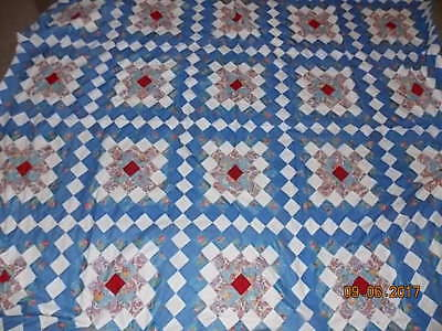 Beautiful HAND STITCHED Antique Quilt Top Blue & White, Flowers