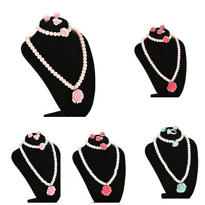 Kids Necklace Bracelet Ring Ear Clips Set Jewelry Girls Chic Accessories SU