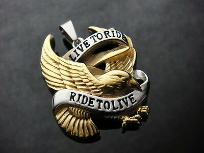 Live to Ride Gold Eagle Pendant for Harley Davidson Biker Rider TheBikeMetalCom