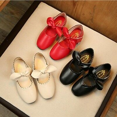 3 Colors Baby Girl's Kid's Child's Leather Bow Ankle Strap Princess School Shoes