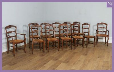 Antique Set of 12 French Louis XV Style Oak Ladder Back Kitchen Dining Chairs