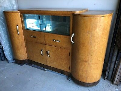 art deco doble fronted BURGE buffet, sideboard cabinet for restoration