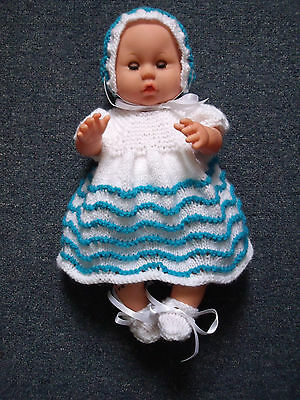 4 pce White/Aqua Stripe Hand Knitted Dolls Clothes. 36-38cm 14-15in.