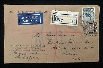 1943 Registered Cover Guildford P/m Ohms Cachet Coa Dept Of Air Group 448 Ww2