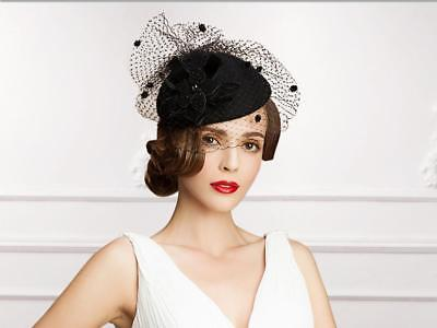 Vintage Black Flax Tulle Women/Ladies Wedding Party Veil Evening Prom Formal Hat