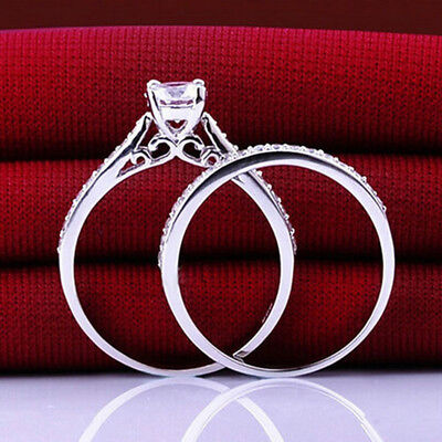 2Pcs Womens Mens CZ Silver Plated Wedding Band Ring Engagement Rings