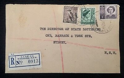 1950 Registered Cover Raaf Po Williamtown Nsw P/m Cds Royal Australian Air Force