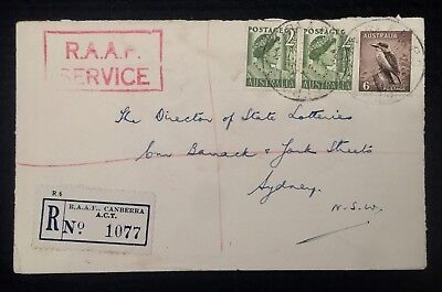 1952 Registered Cover Raaf Canberra Act P/m Cds Royal Aust Air Force Service