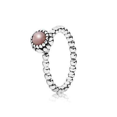 Genuine Pandora S925 Ale Pink Opal October Birthstone Ring In Pandora Pouch/box