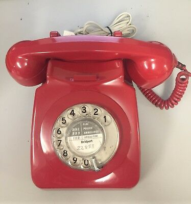 Vintage Red 746 Rotary Telephone