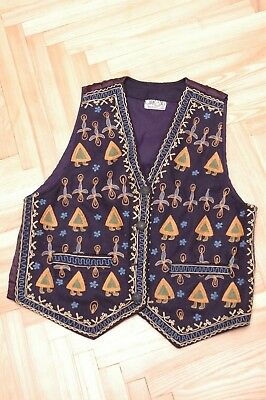 Curious Wool Blend Unisex Waistcoat Decorated Embroidered Ethic Look Size s