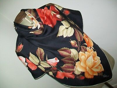 Roses ! Roby . Lyon. A Beautiful 1950's French Rosebud Design Vintage Silk Scarf
