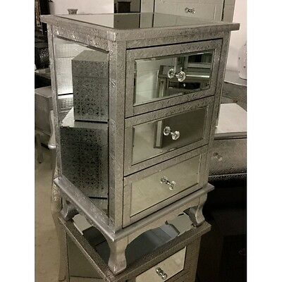 Silver Metal Embossed Mirrored 3 Drawer Bedside Cabinet Table Chest Of Drawers