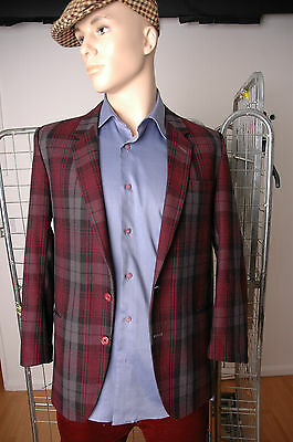 Vintage mens blazer checked made by Fuks Paris M Made in France