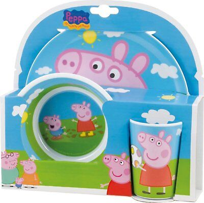 Peppa Pig Plate Bowl And Cup Set - Joy Toy - Sturdy Construction Bargain New