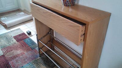 Small Hall Console In Medium Oak With Expandable Shoe Rack In Very G Condition