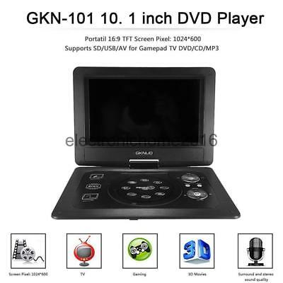 """10.1"""" DVD Player Portable Rechargeable Swivel&Flip,Wide Screen,USB,Game LOT MS"""