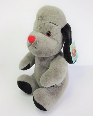 "Sooty grey dog soft toy plush with tag 12"" Cadells 2009 Sooty & Friends Sweep"