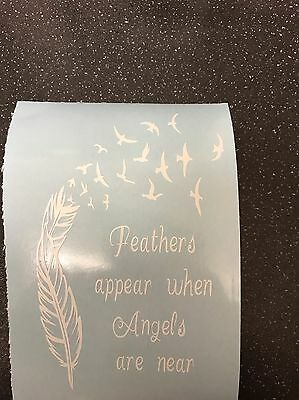 Feathers Appear When Angels Are Near Vinyl Lantern/Vase Decal