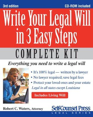 Write Your Legal Will in 3 Easy Steps [With CDROM] (Self-Counsel Legal),MMP,Rob