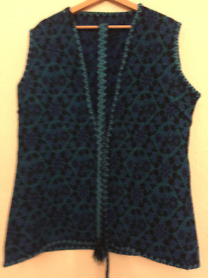 Vintage knit waistcoat with tie blue pattern womens size M/L