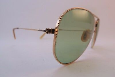Vintage 50S B&L Ray Ban gold filled sunglasses 1/10 12K GF green glass lenses