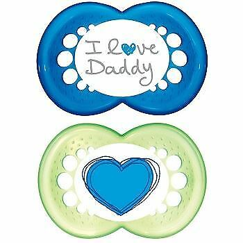 MAM Style I Love Daddy Soothers (6+ months,Green & Blue)