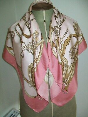 Large & Beautiful Dusky Pink & Gold Equestrian Design Vintage Silk Scarf