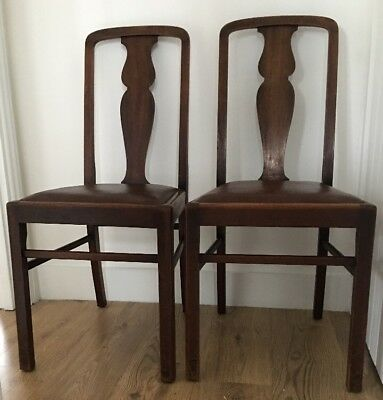Pair of Antique Vintage Wooden Sturdy High Backed Dining Chairs Chair's