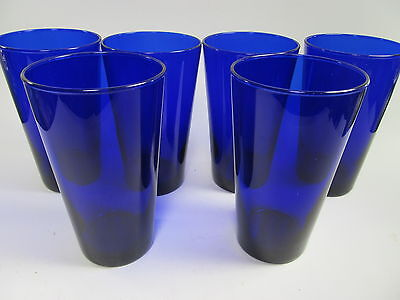 Libbey Cobalt Blue Set of 6 Tall Water Ice Tea Tumblers 16 oz. Coolers Glasses