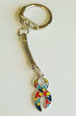 Autism Awareness Ribbon Charm Keyring