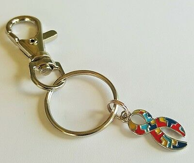 Autism Awareness Ribbon Swivel Clasp Keyring