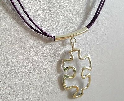 Autism Awareness Purple Waxed Hemp Necklace